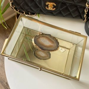 Gold Jewelry Box with Crystal detail